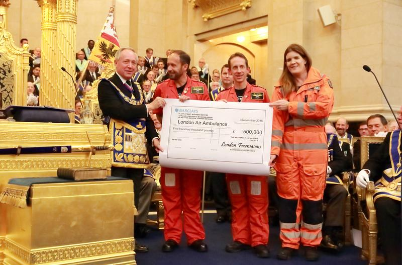 London Freemasons' donation to London Air Ambulance reaches £2 million
